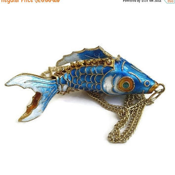 Vintage Enamel Articulated Asian Koi Fish Pendant Necklace