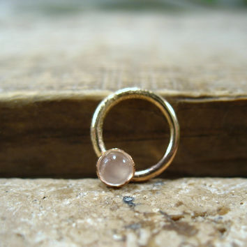 Septum & Nipple Ring Gold Moonstone