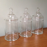 Vintage Glass Apothecary Jar Trio