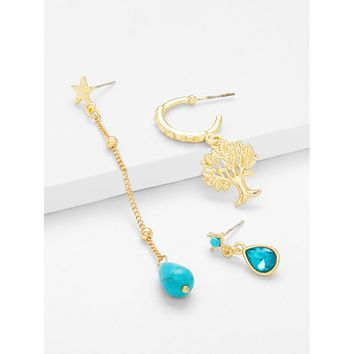 Blue Tree And Water Drop Design Earring Set
