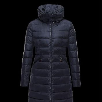 Moncler FLAMME Inner Hood Dark blue Coats Nylon Womens 41381023JX