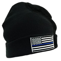 Thin Blue Line Flag Embroidered Winter Hat - Black