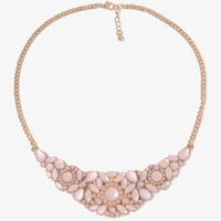 Rhinestone Floral Bib Necklace