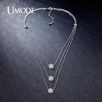 UMODE Fashion 3 Layers Necklaces & Pendants Micro CZ Half Balls 4 Colors Choker Necklaces for Women Hot Jewelry Collier UN0230