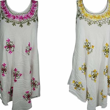 Mogul Interior 2Pc Aurora Women's Summer Gypsy Tank Dress Floral Embroidered Beach Coverup Sleeveless Dresses S/M