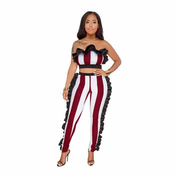 Summer 2 Pieces Set Ruffles Jumpsuit Strapless Off Shoulder Striped Rompers Womens Jumpsuit Club Wear Bodycon Jumpsuits Overalls