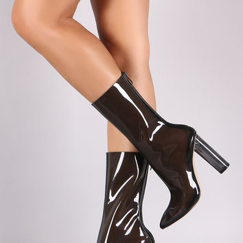 Privileged Perspex Clear Heel Pointy Toe Boots