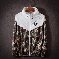 Bape Fashion Unisex Lover's Bape Sports Coat Windbreaker Eye print White
