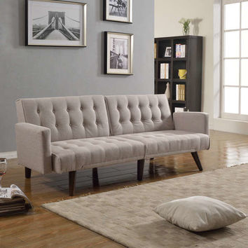 Modern Splitback Linen Fabric Convertible Sleeper Sofa Futon | Overstock.com Shopping - The Best Deals on Futons