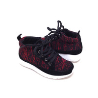 Black/Red Fabric Children Sneakers