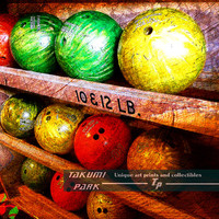 Bowling Ball Art, 11x14 Photo Print, Colorful Wall Art, Sports Theme Bowling Decor, Bowling Gift, Den Art, Man Cave, Bar Art by takumipark