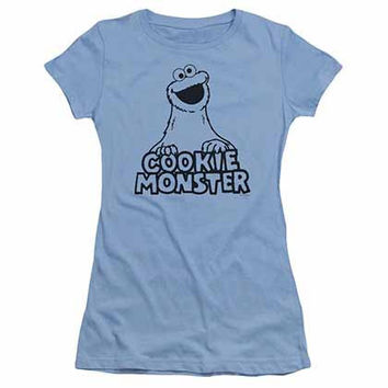 Sesame Street Vintage Cookie Monster Blue Juniors T-Shirt