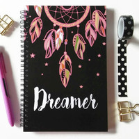 Writing journal, spiral notebook, bullet journal, sketchbook, gift for her, cute journal, pink dream catcher, blank lined grid - Dreamer
