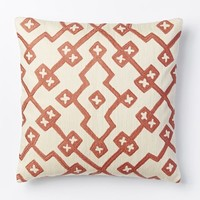 Crewel Lattice Pillow Cover - Rose Bisque
