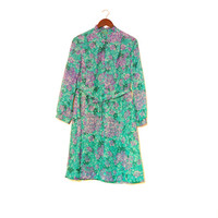 Long Sleeve Green And Purple Floral Dress With Belt, Vintage Dress