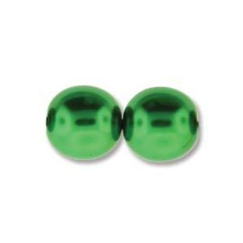 PRL08-70054 - 8mm Round Glass Pearls Xmas Green, 75 Beads   1 Strand