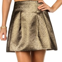 Sale-gold Metallic Party Skirt