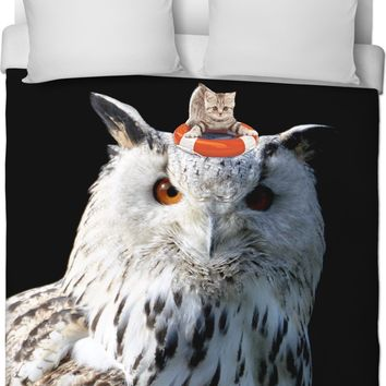 ROB Cats and Owls Duvet Cover