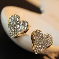 Fine Imitation Bright Diamond Rhinestone Lovely Cute Lady Peach Heart Stud Earrings Love Femininity E167 OL For Women E167