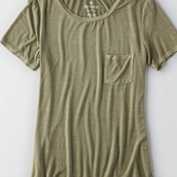 AEO Soft & Sexy Pocket T-Shirt , Red | American Eagle Outfitters