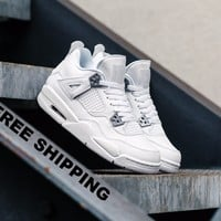 [Free Shipping] Air Jordan IV Retro GS 'Pure Money' 408452-100  Basketball Sneaker  AJ4
