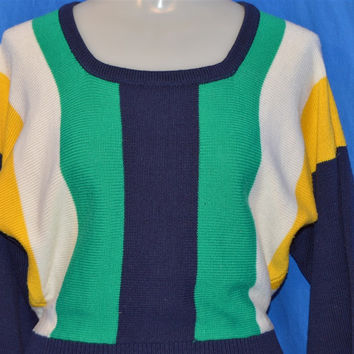 60s Fully Fashioned Navy Blue Multi Striped High Waist Sweater Women's Small