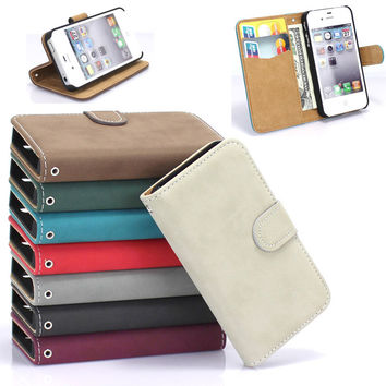 High Quality Fashion PU Leather Phone Case For Apple iPhone 4 4S Card Holder Wallet Phone Cover Bag Hard Back Case