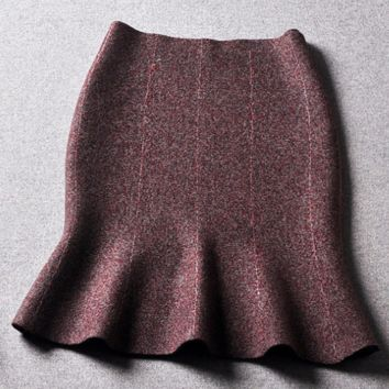 Women's new wild wool wrapped fishtail skirt