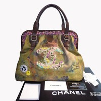 CHANEL Graffiti Embroidery Tote Hand Bag Handbag Women Purse khaki Auth Rare !