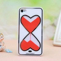 [grdx00232] pink Heart-shaped Hourglass Cover Case For Iphone 4/4s