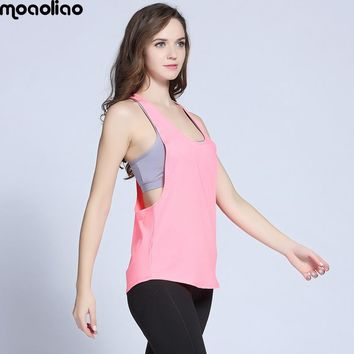 Fitness Running T Shirt 4 Colors Women Sports Shirt Sleeveless Breathable Sport Jersey Cool Loose Yoga Top  Women Sport Top