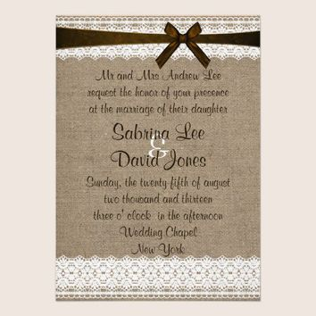 Rustic Burlap and Vintage Lace Wedding Invitation from Zazzle.com