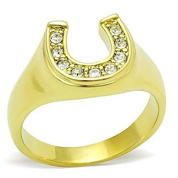 WildKlass Stainless Steel Charm Ring IP Gold(Ion Plating) Women Top Grade Crystal Clear
