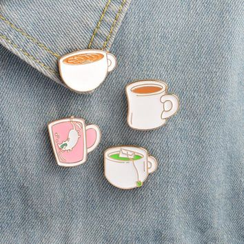 Trendy 4 pcs/lot cartoon cat coffee cup badges brooch button pins denim jacket pin jewelry decoration badge for clothes lapel pins AT_94_13