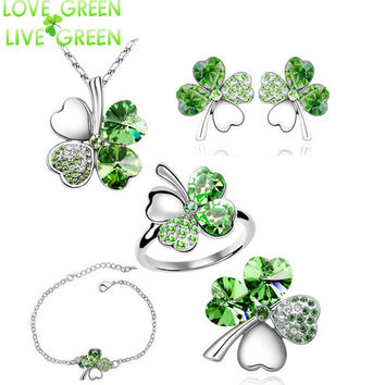 2016 new 5 in set Necklace earrings rings bracelet brooch jewelry set wedding rose gold Crystal Clover 4 Leaf heart Pendant 9554