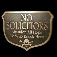 Abandon Hope Solicitors Plaque Custom what you want it to Say Scull and Crossbones optional 10x7 inches all by Atlas Signs