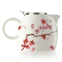 Tea Forte PUGG 24oz Ceramic Teapot with Tea Infuser, Loose Leaf Tea Steeping For Two, Cherry Blossoms