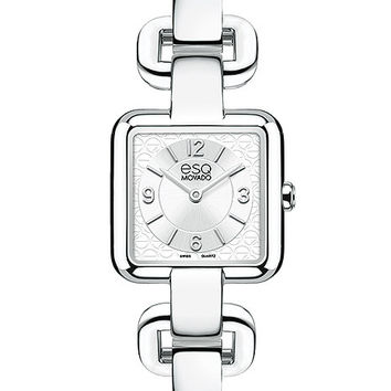 ESQ Movado Status Ladies Bangle-Style Watch - White Dial w/ Stainless Steel Case