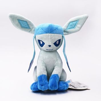 Plush Toy 19cm Glacia Eevee Peluche Toys Ice Elves Glaceon Doll For Kid Baby Birthday Gifts Anime Soft Free Shipping