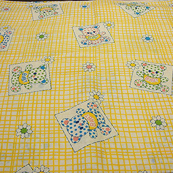 "1960s Fabric Baby Animal Juvenile Novelty Fabric 36"" wide Yellow Gingham Fabric"