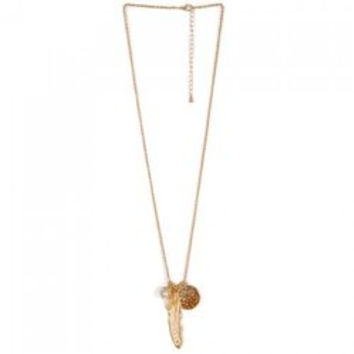 Faux Pearl Feather Leaf Sweater Chain