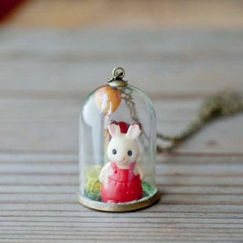Rabbit and Berries Necklace, Terrarium Necklace, Miniature Necklace, Glass Dome Necklace - Long Chain Handmade Necklace