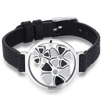 Leather and Stainless Steel Heart Flower W. Cubic Zirconia Belt Buckle Bracelet