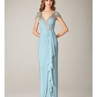Mignon Spring 2014 Dresses - Sky Blue Beaded Striped Cap Sleeve Prom Dress