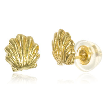 14k Yellow Gold Baby Sea Shell Stud Earrings with Silicone Back