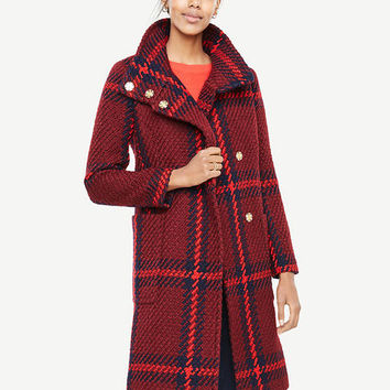 Plaid Funnel Neck Coat | Ann Taylor
