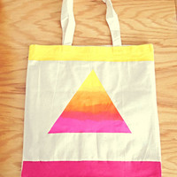 Triangle Neon Ombre Tote Bag Neon CanvasTote Hand-Painted Pink Cotton Tote Bag Yellow and Orange
