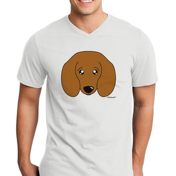 Cute Doxie Dachshund Dog Adult V-Neck T-shirt by TooLoud
