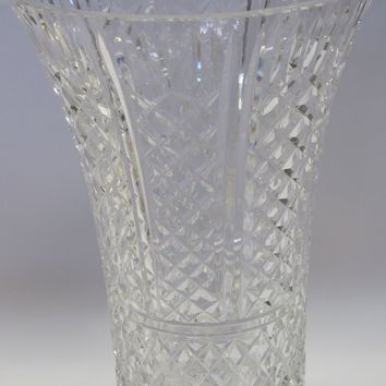 Waterford CUT GLASS signed vase old cut in Ireland