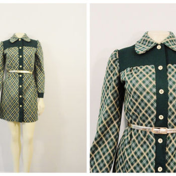 SALE Vintage Dress 60s 70s Mod Mini Dress Vicky Vaughn Green & Beige Plaid Modern Small
